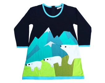 Polar Bear Dress in Black, Teal & Olive, Winter Dress, Girls Dress, Arctic, Snow, Mountains