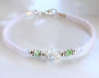 Swarovski Crystal Friendship Bracelet/White and Green/BFF/Birthstone