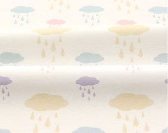 Cloud and Rain Pattern 40s Cotton Interlock Knit Fabric by Yard