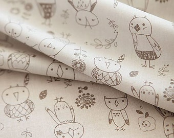 Cute Owls Pattern Cotton Fabric by Yard