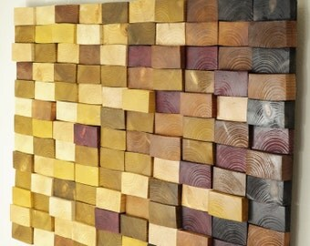 wooden mosaic decor, modern wood wall art, organic wall art, reclaimed wall art, Environment wall art