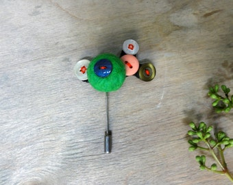 Handmade Button Statement Brooch / Pin