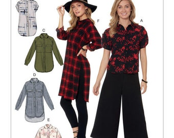 McCall's Sewing Pattern M7472 Misses' Raglan Sleeve, Button-Down Shirts and Tunics