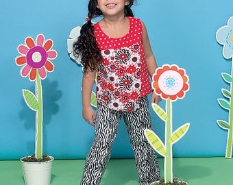 McCall's Sewing Pattern M7346 Children's/Girls' Overlay Tops, Yoked Dresses, Shorts and Pants