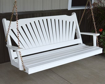 Yellow Pine Fanback 4ft. Outdoor Porch Swing