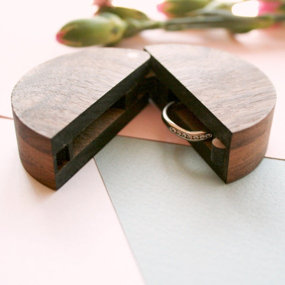 Round wooden ring box ring box wedding ring holder for for Design your own wooden ring