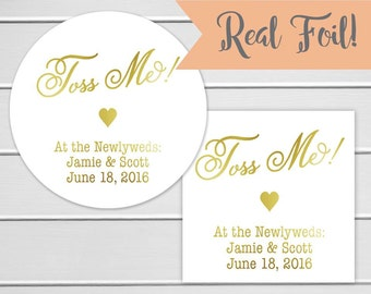 Toss Me Wedding Confetti Stickers with Gold Foil on White Stickers, Wedding Bird Seed Stickers, Wedding labels (#287-F)