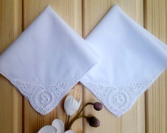 Set of 2 handkerchief monogrammed on corner. custom Initial on corner. personalized handkerchief. Monogram on tulle.unique bride to mom gift