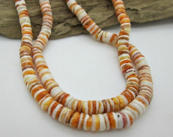 "Spiny Oyster Shell Small Heishi Beads, 5mm (12"" loose)"