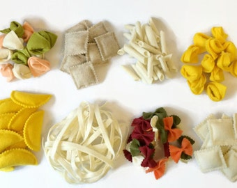 Felt Pasta Set of 8, Felt Food, Play Food, Noodles, Ravioli, Bow Tie, Penne