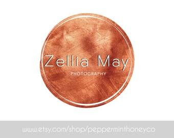 1124 - PRE-MADE LOGO, Copper, Rose Gold, Premade Logo, Design, Photographer Logo, Small business, Boutique, Blog, Glitz, Girly, Circle
