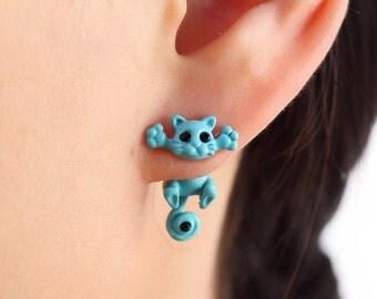 Handmade Stud Earrings Cute Animal Kitten Cat Jewelry For Women Girls