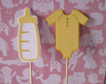 yellow bottle toppers, yellow onesie topper, cupcake toppers, cake toppers, baby shower toppers, onesie toppers,bottle toppers,yellow topper
