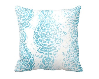 Aqua Blue Pillow Cover Blue Throw Pillow Cover Blue Damask Pillow Cover Decorative Pillows for Couch Pillows 20x20 Pillow Cover 18x18 Pillow