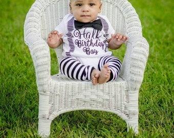 half birthday shirt Baby Boy half birthday onesie with suspenders and bow tie set, 1/2 Birthday baby boy onesie, Baby boy birthday outfit