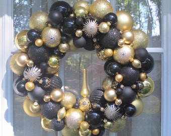 Black and Gold Ornament Wreath