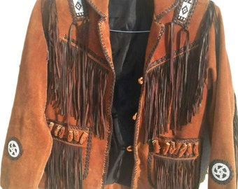 COWBOY BROWN SUEDE Western native Leather jacket  fringe bons
