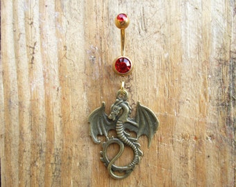 Dragon Belly Button Ring, Navel Ring, Dangle Belly Ring, Body Piercing, Dragon Charm, Body Jewelry, 14g Barbell.