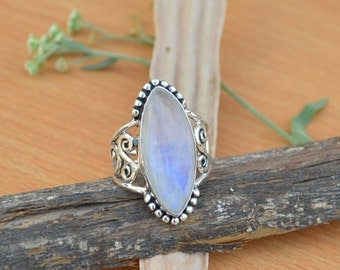 Marquise Rainbow Moonstone Gemstone Ring, Moonstone Ring, Solid 925 Sterling Silver Ring, June Birthstone Ring, Classic Gift Ring Size 9