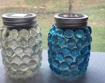 Mason Jar Solar Lights - blue