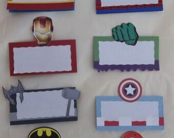 Superhero Place card, Superhero Food card, Set of 6