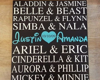Disney Couples Custom Sign