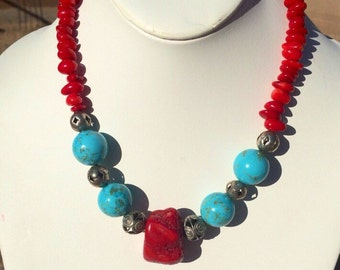 Western red coral and turquoise necklace