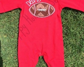 Red Football Appliqued  Long All