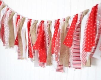 Red and Burlap Valentine Garland-Valentines Day-Burlap Banner-Holiday Burlap Banner-Rag Tie Fabric Garland-Photo Prop Backdrop
