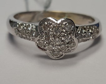 Diamond Flower Cluster Ring 18-K White Gold