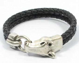 horse bracelet, western jewelry, mens braided leather, equestrian bracelet, horse jewelry, equestrian jewelry, country western jewelry