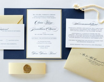 Gold Shimmer, Navy Blue, and Wax Seal Wedding Invitation and RSVP Card Suite - Navy, Gold, Ivory Wedding - The Revel Suite