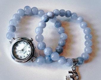 Handmade Gemstone Wrist Mala Watch STACK (2): Aquamarine