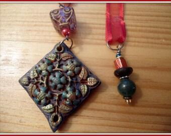 Handmade Clay pendant bohemian Bookmark