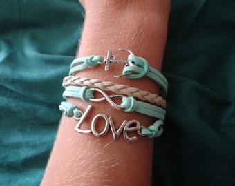 Turquoise Nautical Infinity Love Bracelet