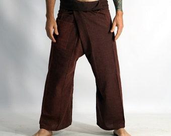 THAI FISHERMAN PANTS Stone Rust- Harem Pants, Peasant, Pirate Costume, Buccaneer Pants, Larp Costume, Medieval Clothing, Burning Man,Zootzu
