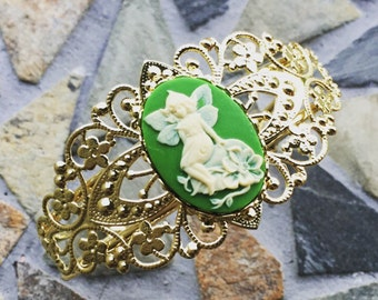 Green and Ivory Fairy Cameo and Gold Victorian Cuff Bracelet