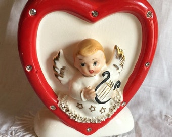 Vintage Heart Planter; Vintage Valentine Planter; Cupid With Rhinestones; Japan 1950's