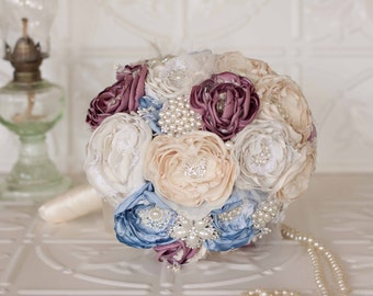 Vintage Inspired Fabric Wedding Bouquet, Satin and Lace and Brooch Bridal Bouquet, shabby chic flowers