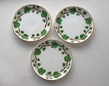 Three Crown Fine Bone China Trinket Dishes or Pin Tray Ivy Motif, Staffordshire pottery