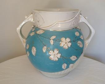 Large Vintage Blue and White Ceramic Vase with Dogwood Flowers