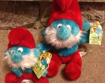 Vintage Smurfs PAPA SMURFS Bean Bag Plush Stuffed Toys 1979