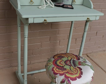 Petite Writing Desk or Vanity with Upholstered Stool DOES NOT SHIP
