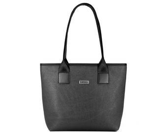 Black tote bag with light inside. 9 pockets.