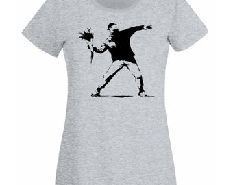 Womens T-Shirt with Banksy Protest Flower Thrower Design / Patriot Shirts / Opposition Disorder Tee Shirt + Free Random Decal Gift