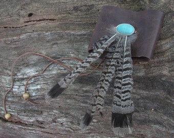 Leather Arm Cuff with Cruelty Free Turkey Feathers and Turquoise - Upcycled Leather