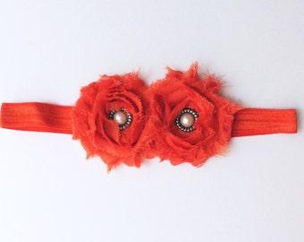 Baby girl headband; orange baby girl headband; orange headband; baby headband