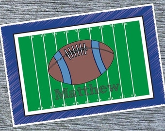 Boys Personalized Placemat - Football Placemat - Personalized Football Field Placemat - Football Custom Laminated Placemat For Toddlers