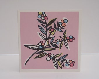 Bold & Beautiful Berry Branch printed greeting card
