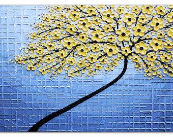 Yellow Grey Art Giclee Print of Yellow tree Painting Landscape Art Grey Yellow Wall art Large Contemporary Yellow floral art Print